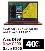 """SAVE £200 - ACER Aspire 3 15.6"""" Intel Core I3 Laptop - 1 TB HDD, Red"""