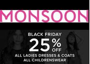 25% off Dresses & Coats at Monsoon - until Midnight, Sunday