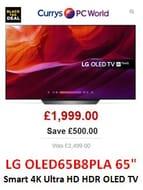 "SAVE £500 - LG OLED65B8PLA 65"" Smart 4K Ultra HD HDR OLED TV - NOW £1,999"