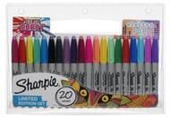 Sharpie Electro Pop Marker Pens, Fine Nib, Assorted Ink (Pack of 20)