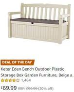 SAVE £30 TODAY: Keter Eden Bench - Outdoor Plastic Storage Box