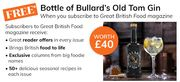 Free Bottle of £40 Bullards Old Tom Gin with GBF Mag Subscription £10.90