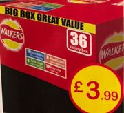 Walkers Crisps 36 Big Variety Box