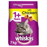Whiskas 1+ Dry Cat Food for Adult Cats Chicken, 1 Bag (1 X 7 Kg)