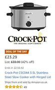 Crock-Pot 3.5L Stainless Steel Slow Cooker with Hinged Lid