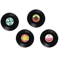 Vintage Retro Style Coasters Set of 4 RECORD Design Drinks Mat