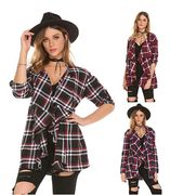 Women's Plaid Coat Casual Long Sleeve Irregular Open Front Cardigan