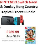 NINTENDO Switch Neon Console & Donkey Kong Country: Tropical Freeze Bundle