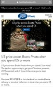 1/2 Price across Boots Photo £5 or More