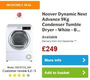 Hoover 9Kg Condenser Tumble Dryer - GOOD DEAL & FREE DELIVERY