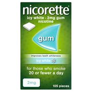 Nicorette Icy White Chewing Whitening Gum, 2 Mg, 105 Pieces