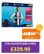 Save £30. Playstation PS4 Pro ITB Console with FIFA 19 and Now TV