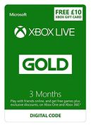 Xbox Live 3 Month Gold Membership + £10 FREE Credit