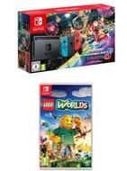 Nintendo Switch Neon + Mario Kart 8 Deluxe + LEGO WORLDS