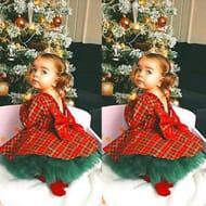 Girl Plaid Dress and Tutu Skirt 2pcs Set