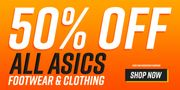 All ASICS Footwear and Clothing 50% Off!