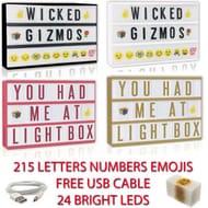 A4 Cinematic Light up Letter Emoji Box 24 Led Sign Wedding Party Cinema Shop Usb