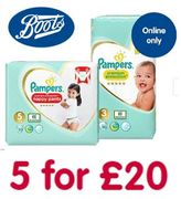 PAMPERS DEAL - 5 for £20 at BOOTS - HALF PRICE! (ONLINE ONLY)