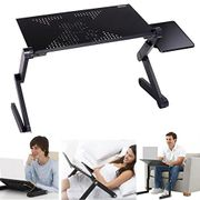 Adjustable Laptop Table, Bed Tray Table, with Cooler Fan