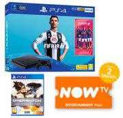 500GB PLAYSTATION PS4 + FIFA 19 + OVERWATCH LEGENDARY EDITION + NOW TV (2m)
