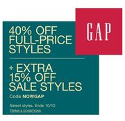 40% off GAP with Code & EXTRA 15% off SALE STYLES (ENDS MONDAY)