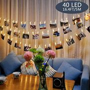 40 LED Light String with Photo/card Clips