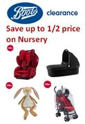 NURSERY CLEARANCE LIVE NOW at Boots - up to HALF PRICE