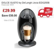 HOT DEAL! save £50! DOLCE GUSTO Jovia Coffee Machine. FREE DELIVERY