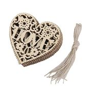 10pcs LOVE Heart Wooden Embellishments Crafts