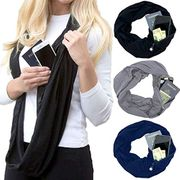 Portable Women Scarf with Pocket Infinity Scarf All Match Travel Journey Scaves
