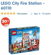 20% OFF. LEGO 60110 City Fire Station. SAVE £17 + Free Delivery
