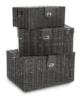Set 3 Resin Wicker Xmas Hamper Storage Baskets - 3 Colours