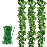 Aibesser 12 Pack&2.2M Artificial Ivy Leaf Garland Plastic Plant