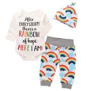 3 Pcs Newborn Baby Rainbow Outfits Clothes Set