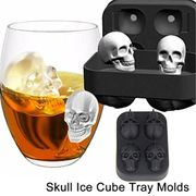 3D Skull Flexible Silicone Ice Cube Mold Tray Easy Release Realistic Skull