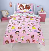 Online PoundStore - Disney Beauty and the Beast Single Emoji Duvet Set £6.99