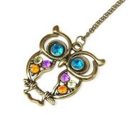 Stone River Jewellery Blue Eyed Owl Pendant Long Chain Necklace