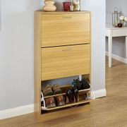 Humphrey Three Tier Shoe Cabinet - Oak £37.45 with Code