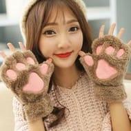 Women Cute Cartoon Cat Thick Plush Fingerless Gloves