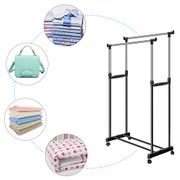 Double Clothes Rail Heavy Duty Stainless Steel Adjustable Telescopic