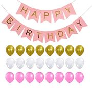 Happy Birthday Banner, Rose Gold Party Decorations