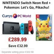 NINTENDO Switch Neon Red & Pokemon: Let's Go, Pikachu! Bundle