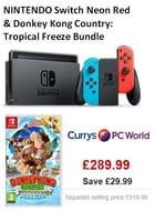 NINTENDO Switch Neon Red & Donkey Kong Country: Tropical Freeze Bundle
