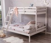 3 Sleeper White Wooden Triple Bunk Bed Double&Single Size &Mattress