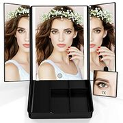 Best Christmas Gift 7X Magnifying Tri-Fold Vanity Mirror with LED