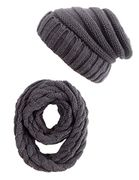 *Stack* Women Girls Winter Cable Knit Beanie Slouchy Hat and Infinity Scarf