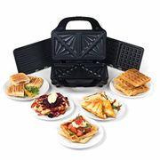 3-in-1 Snack Maker with Waffle, Panini and Toasted Sandwiches