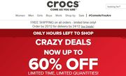 Crocs Crazy Sale up to 60% off Free Delivery