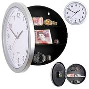 Silver Wall Clock Safe with Secret Hidden Compartment Money Stash Jewellery