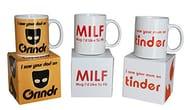 """3 Funny Novelty Mugs Bundle - """"Grindr, Tinder and MILF"""""""